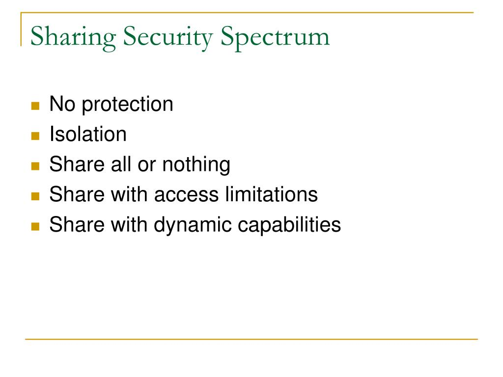 Sharing Security Spectrum