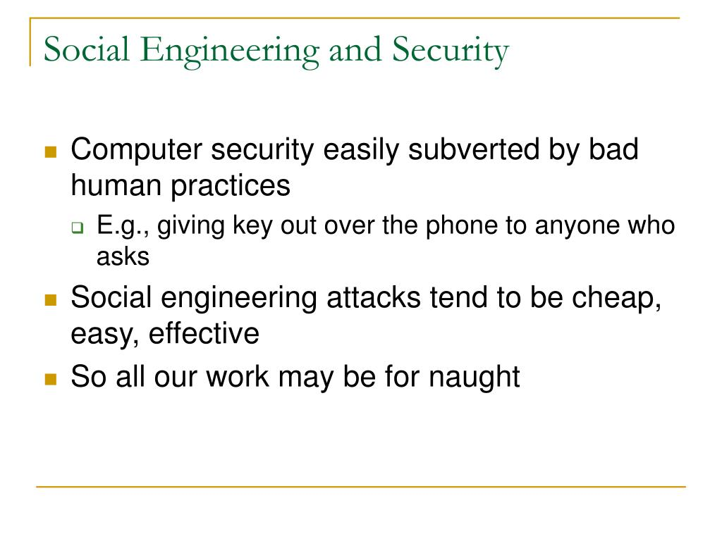 Social Engineering and Security