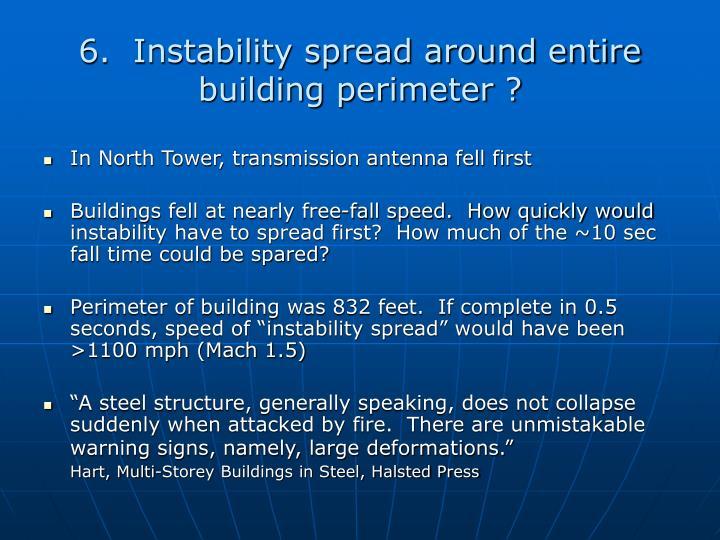 6.  Instability spread around entire building perimeter ?