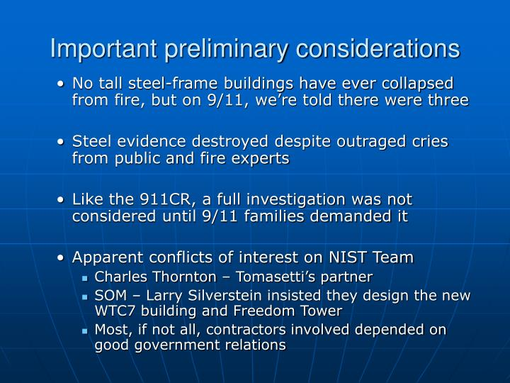 Important preliminary considerations