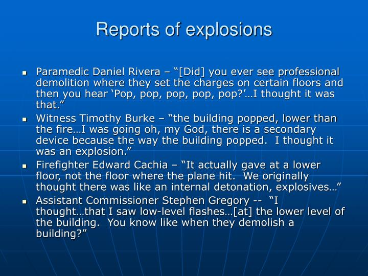 Reports of explosions