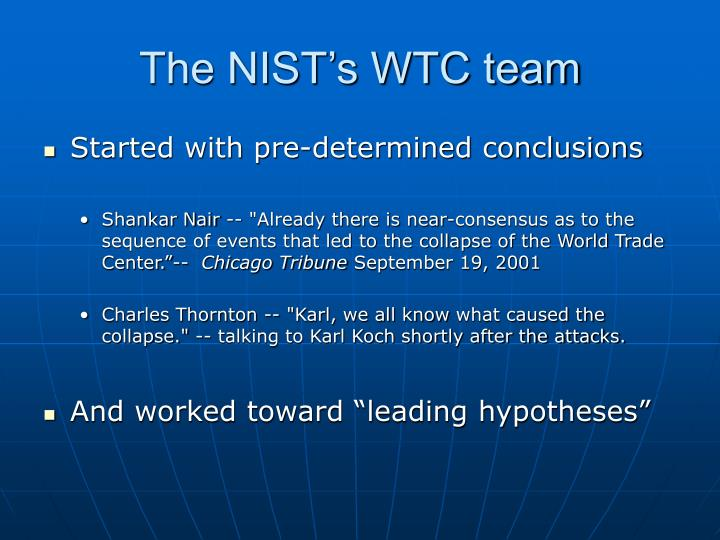 The NIST's WTC team