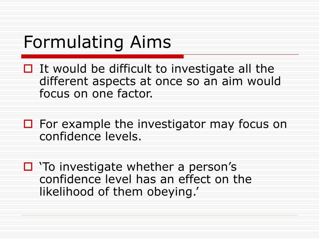 Formulating Aims