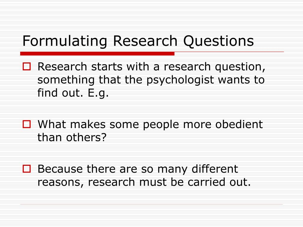 Formulating Research Questions