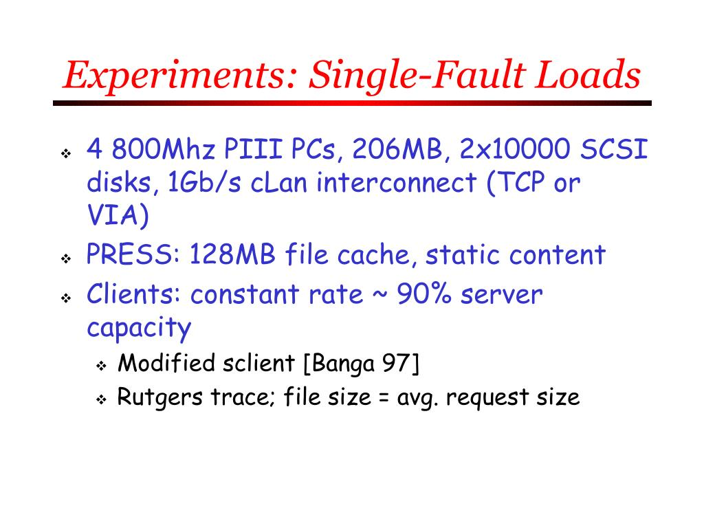 Experiments: Single-Fault Loads