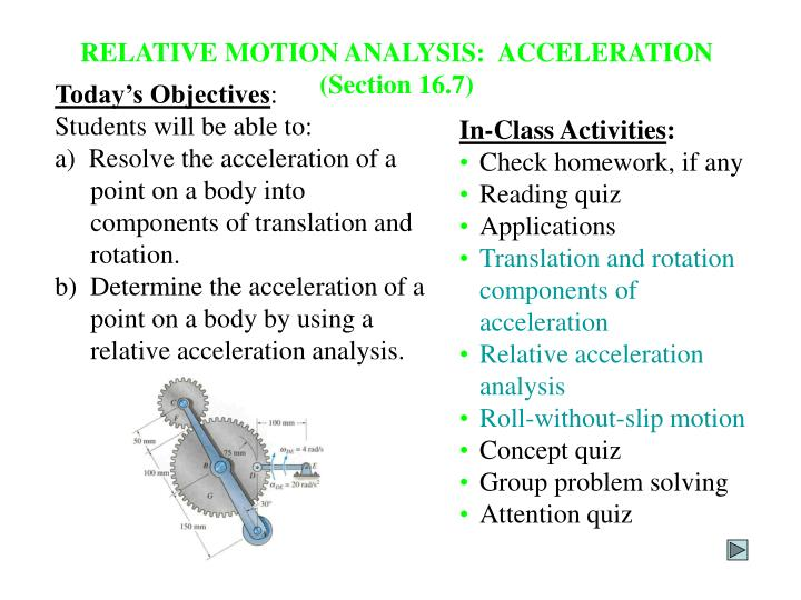 RELATIVE MOTION ANALYSIS:  ACCELERATION (Section 16.7)