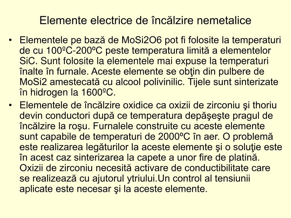 Elemente electrice de încălzire nemetalice