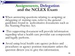 assignments delegation and the nclex exam