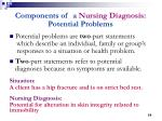 components of a nursing diagnosis potential problems