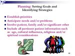 planning setting goals and identifying strategies