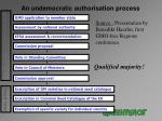an undemocratic authorisation process
