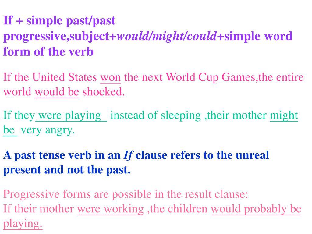 If + simple past/past progressive,subject