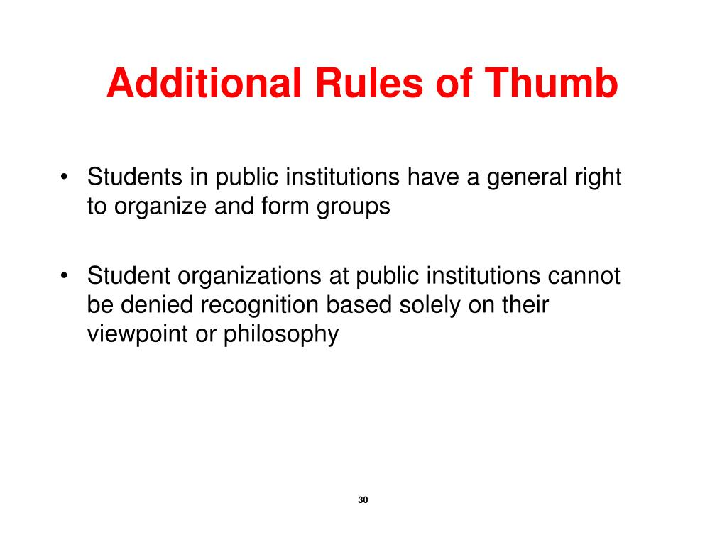 Additional Rules of Thumb