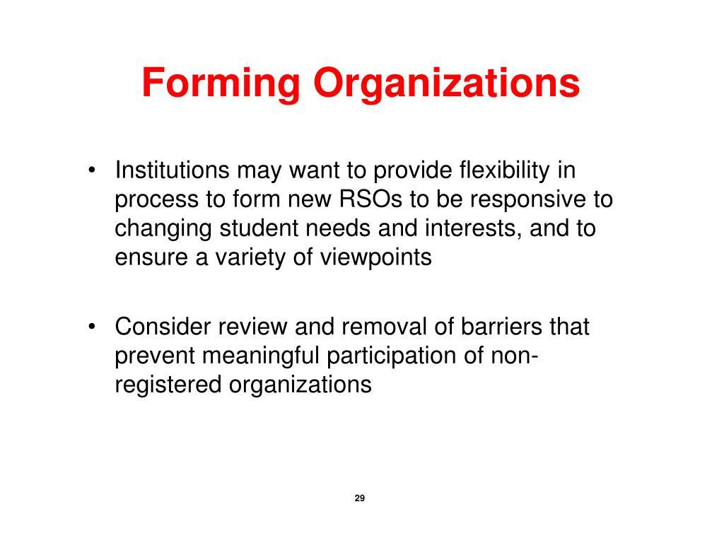 Forming Organizations