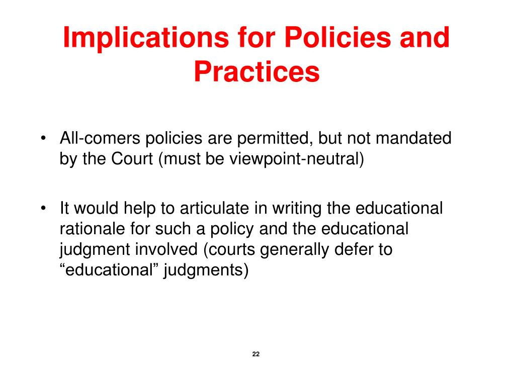 Implications for Policies and Practices