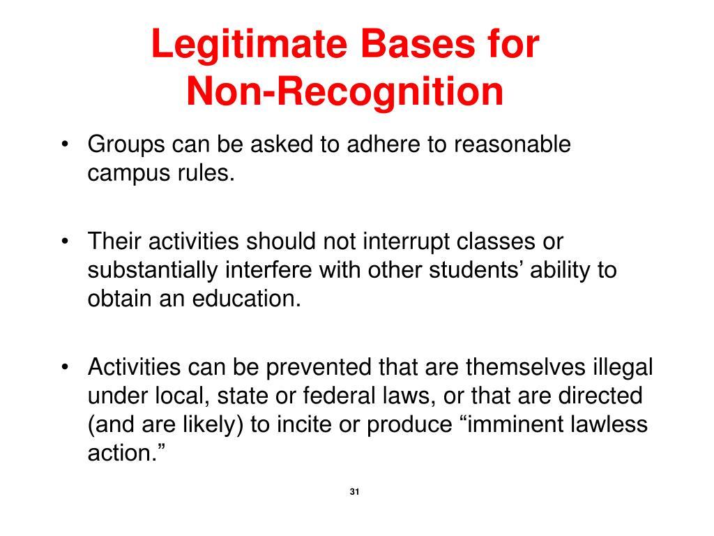 Legitimate Bases for Non-Recognition