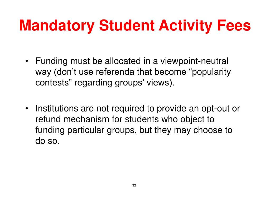 Mandatory Student Activity Fees