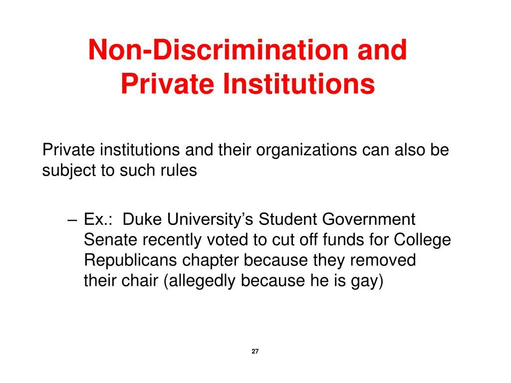 Non-Discrimination and Private Institutions