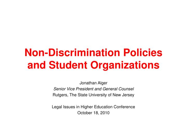 Non discrimination policies and student organizations
