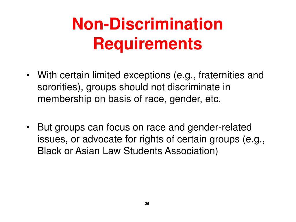 Non-Discrimination Requirements