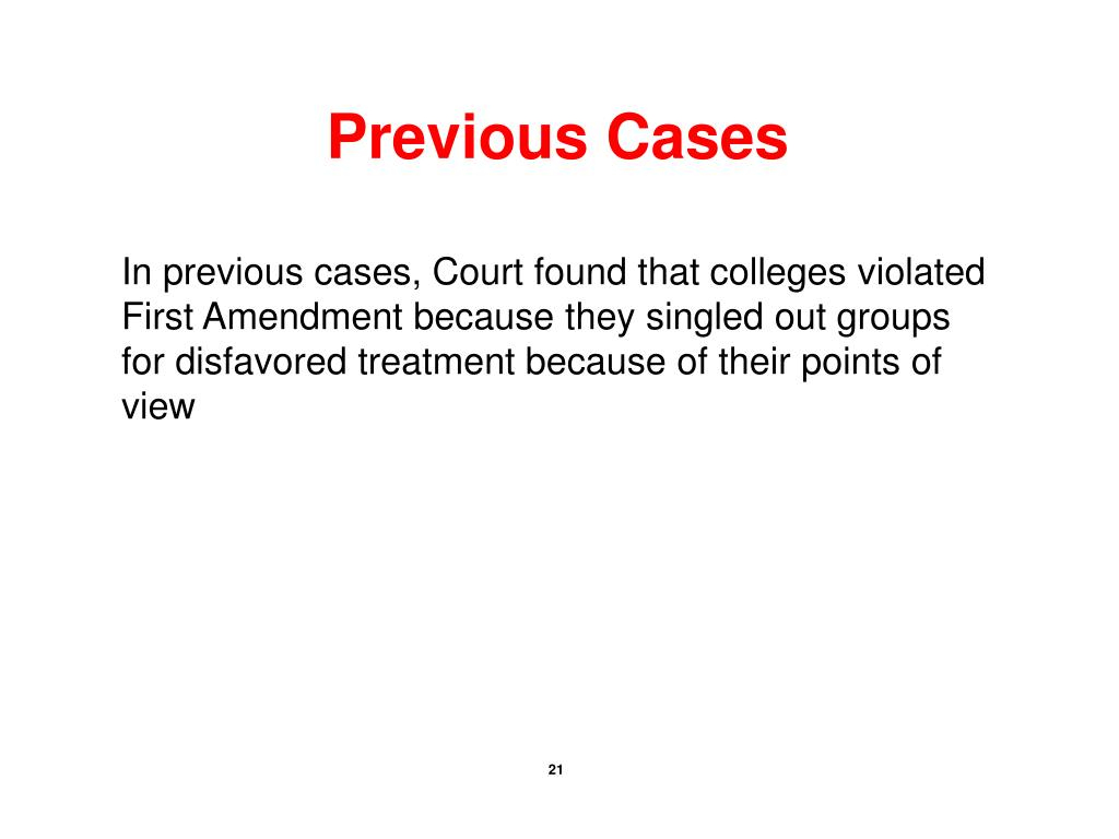 Previous Cases