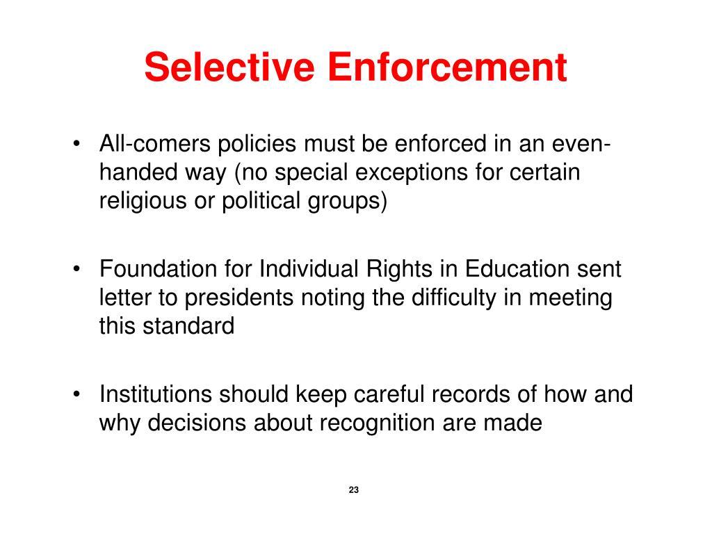 Selective Enforcement