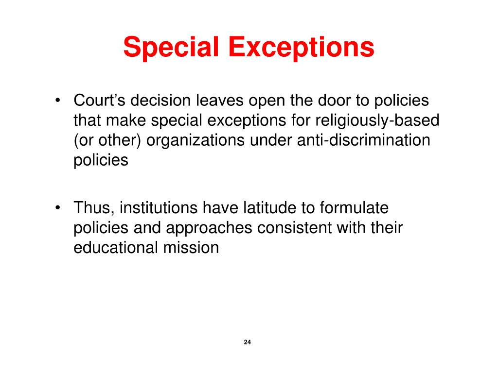 Special Exceptions