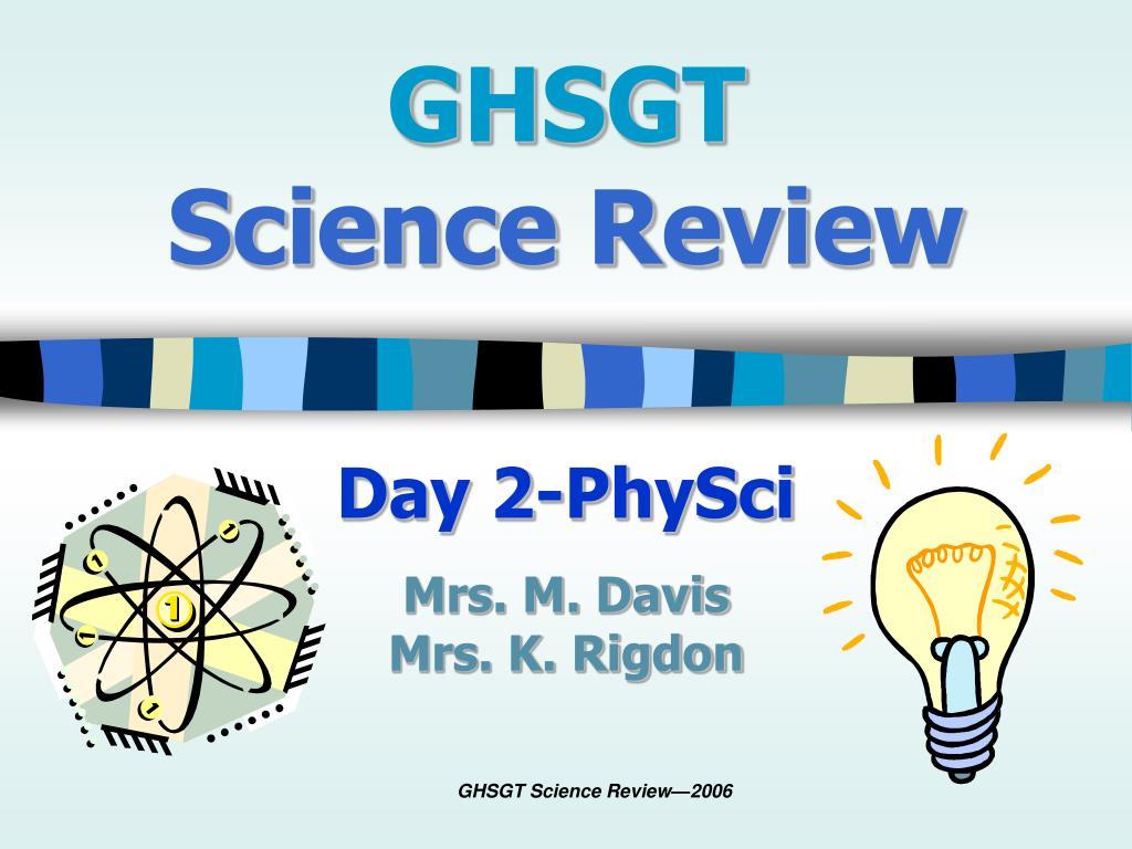 ghsgt science review