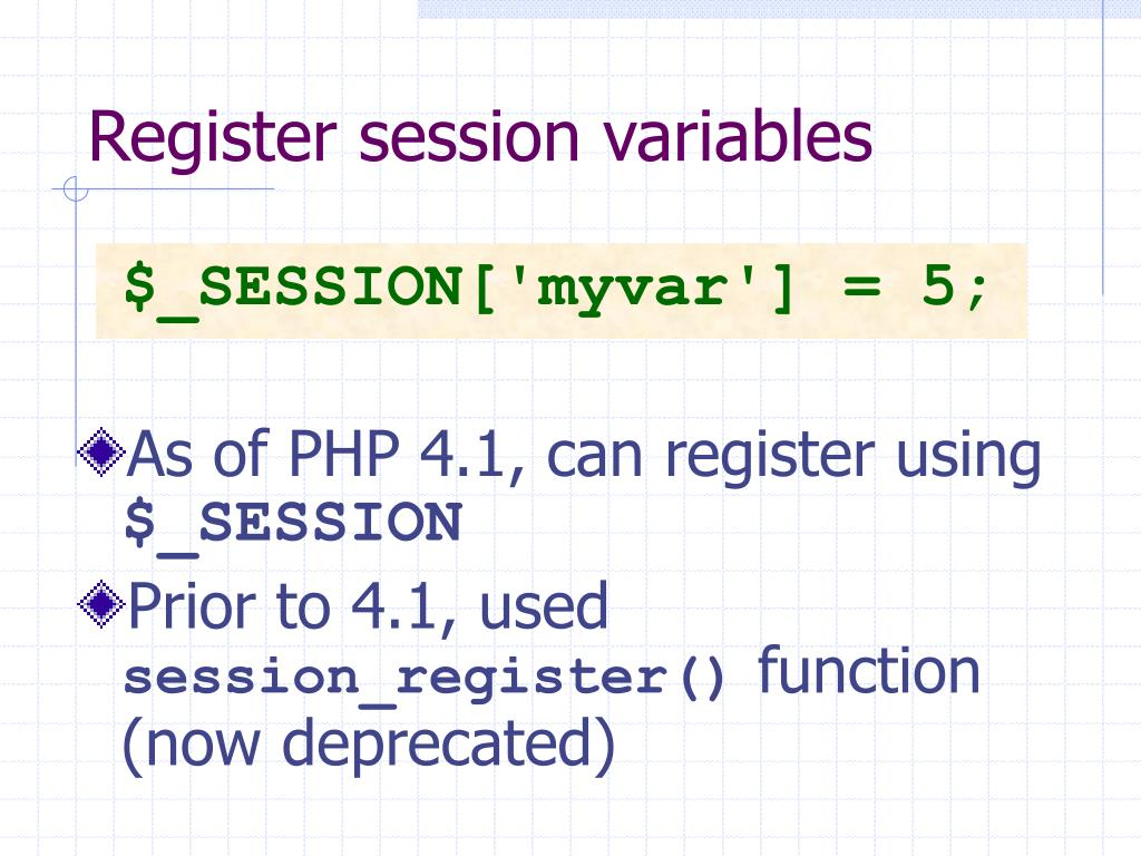 Register session variables