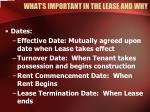 what s important in the lease and why14