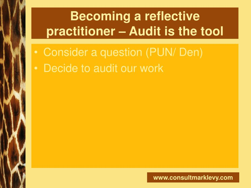Becoming a reflective practitioner – Audit is the tool