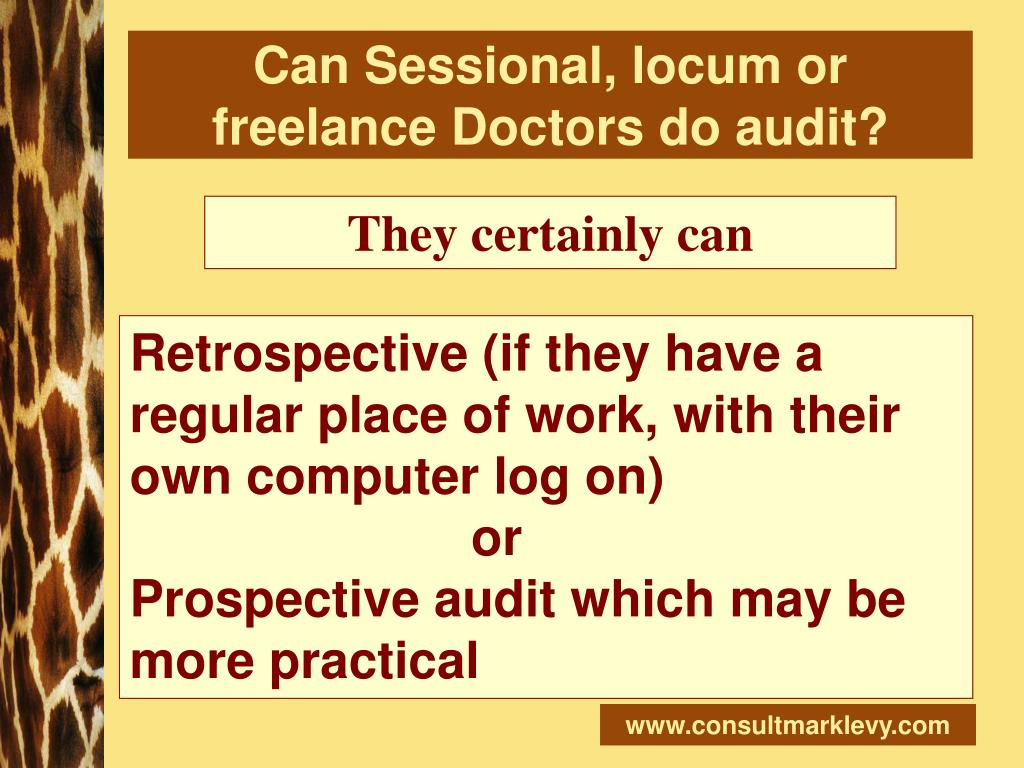 Can Sessional, locum or freelance Doctors do audit?
