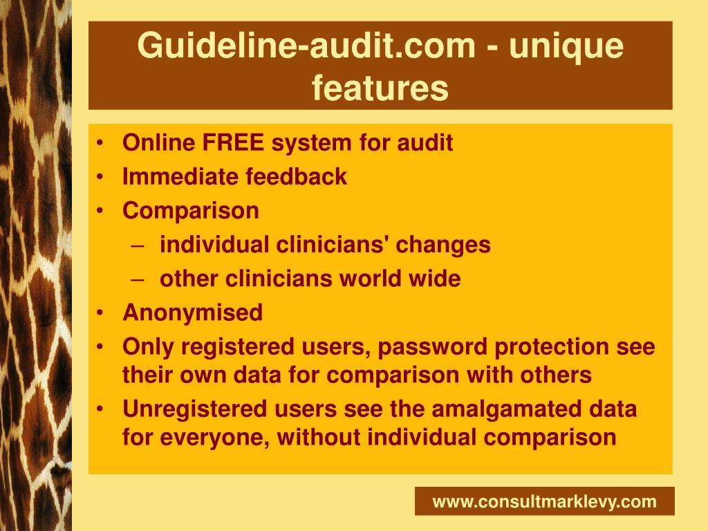Guideline-audit.com - unique features