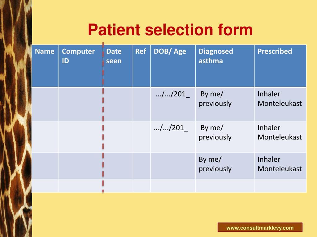 Patient selection form