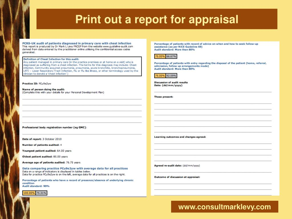 Print out a report for appraisal