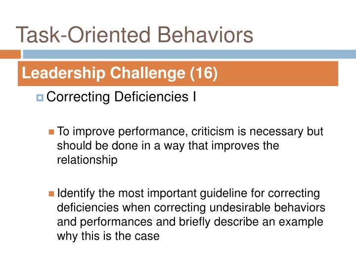 Task oriented behaviors