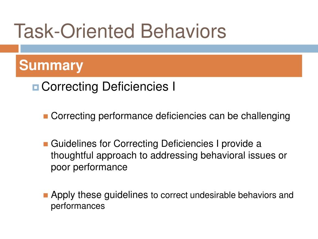 Task-Oriented Behaviors