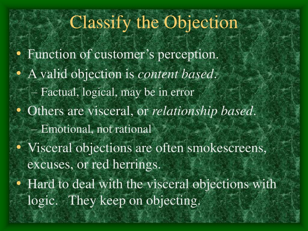 Classify the Objection