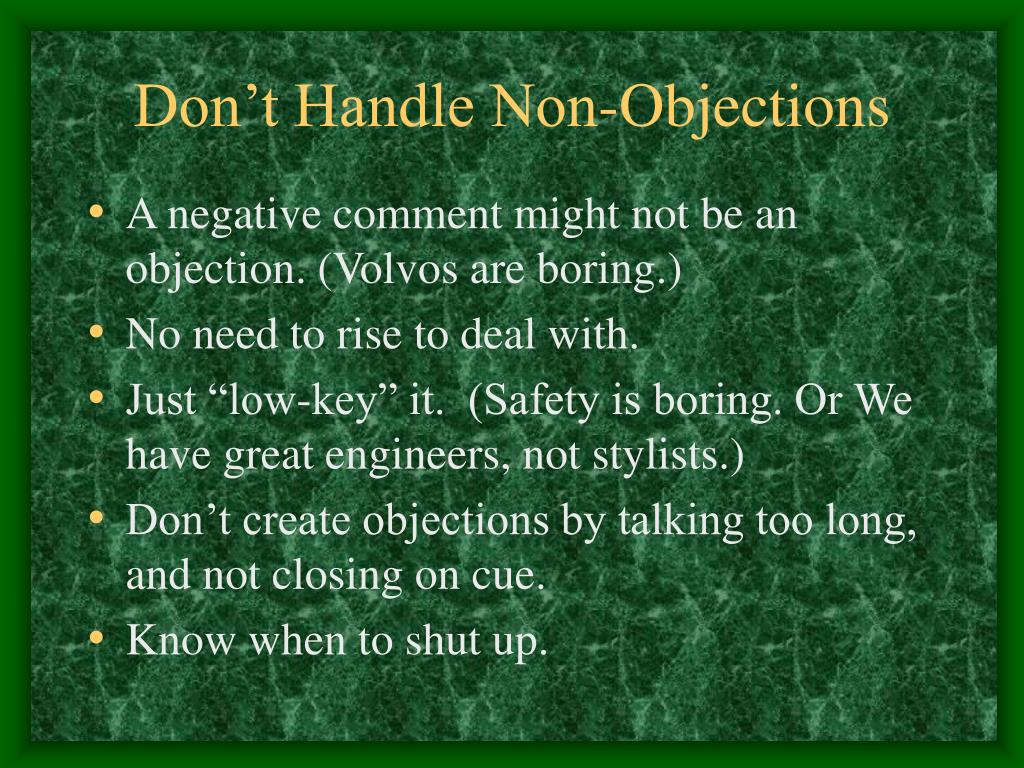 Don't Handle Non-Objections