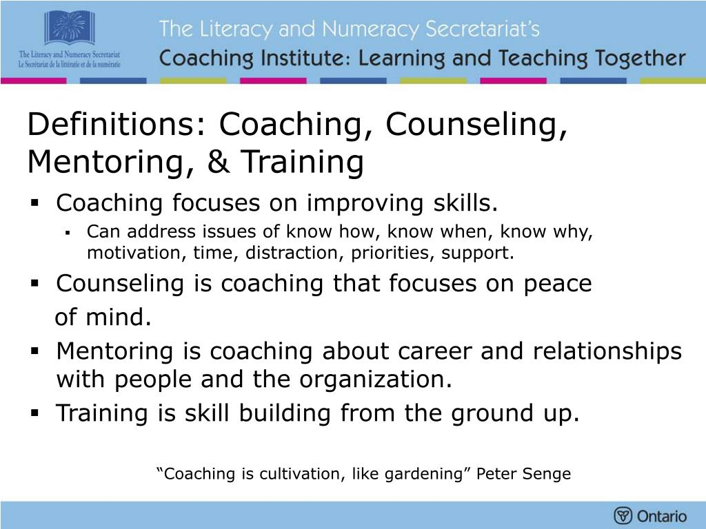 Definitions: Coaching, Counseling, Mentoring, & Training