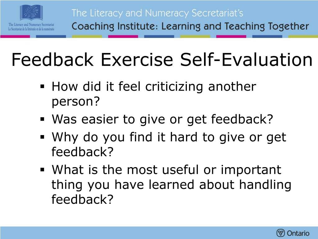 Feedback Exercise Self-Evaluation