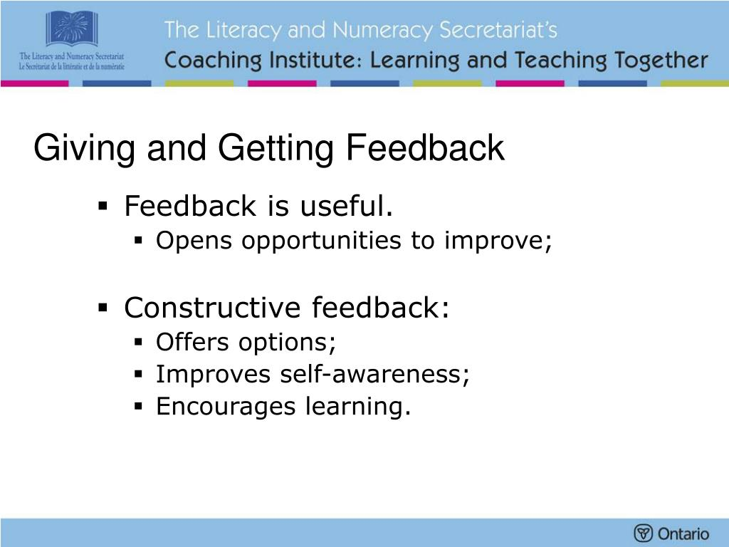 Giving and Getting Feedback