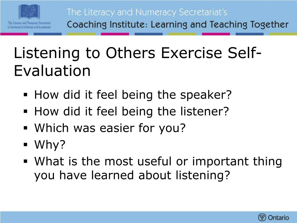 Listening to Others Exercise Self-Evaluation