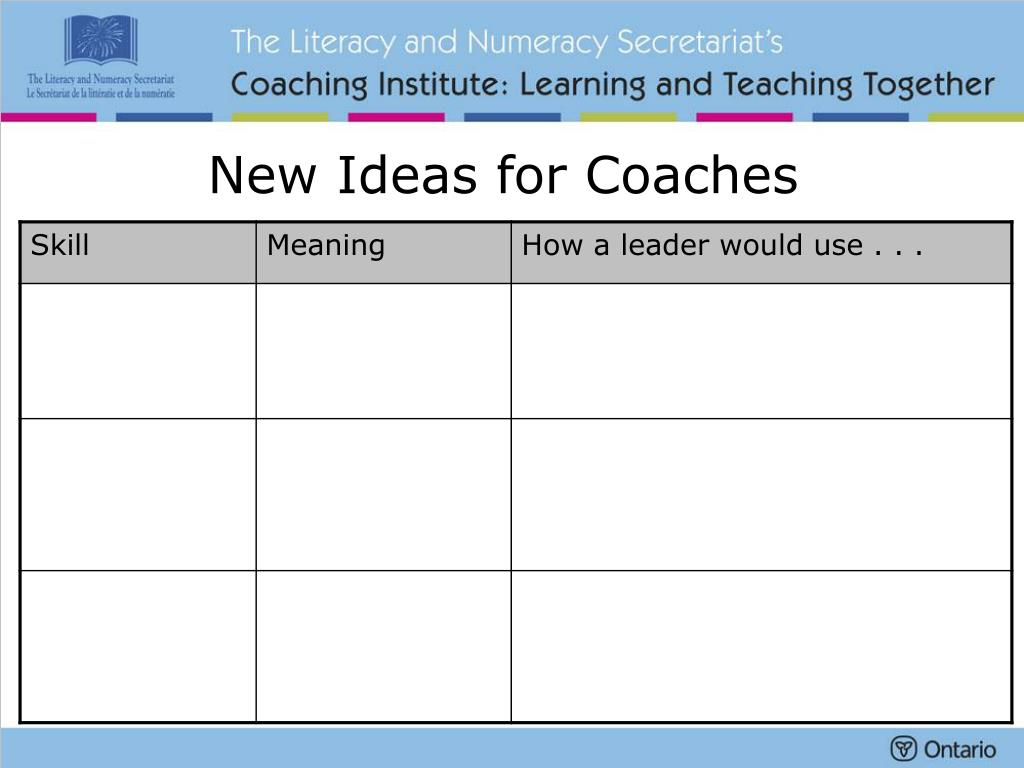 New Ideas for Coaches