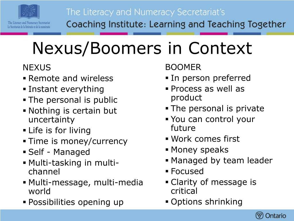 Nexus/Boomers in Context