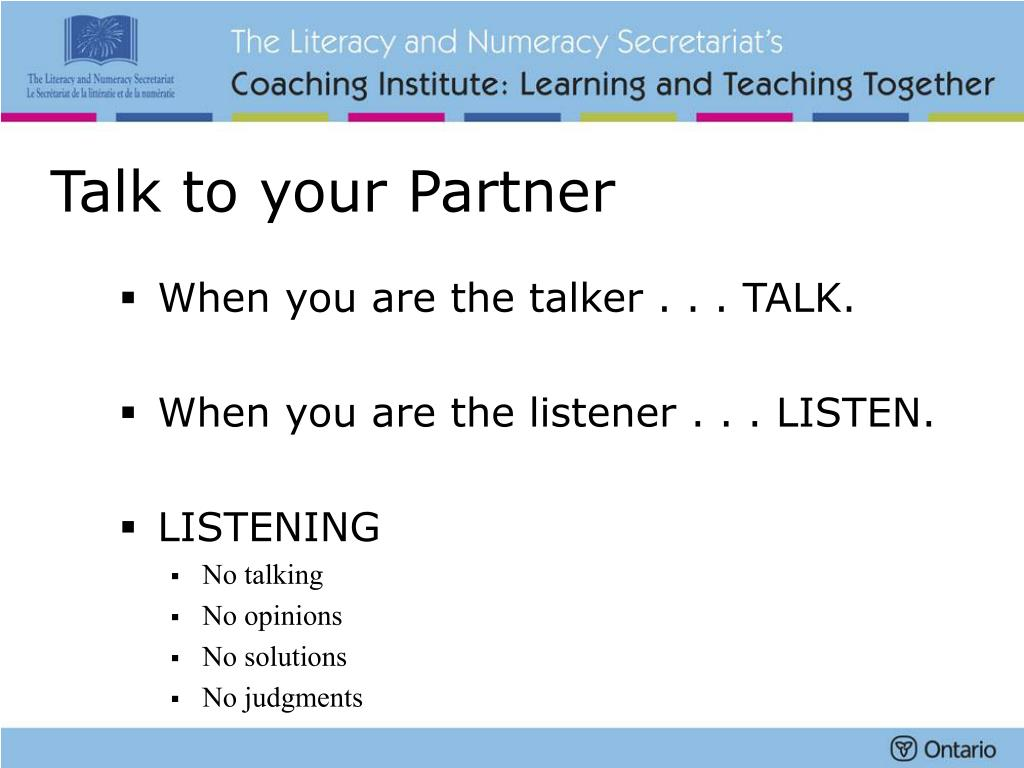 Talk to your Partner