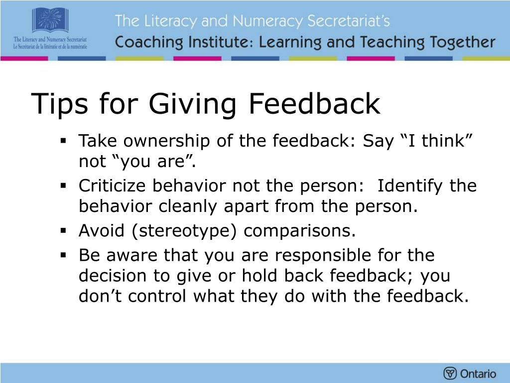 Tips for Giving Feedback