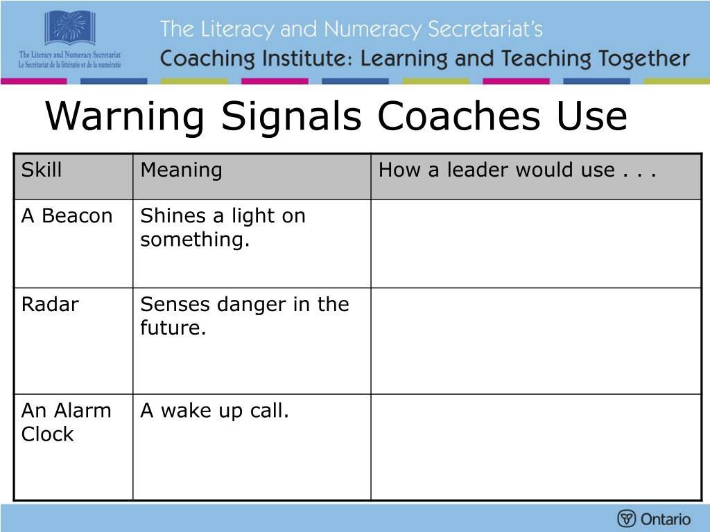 Warning Signals Coaches Use