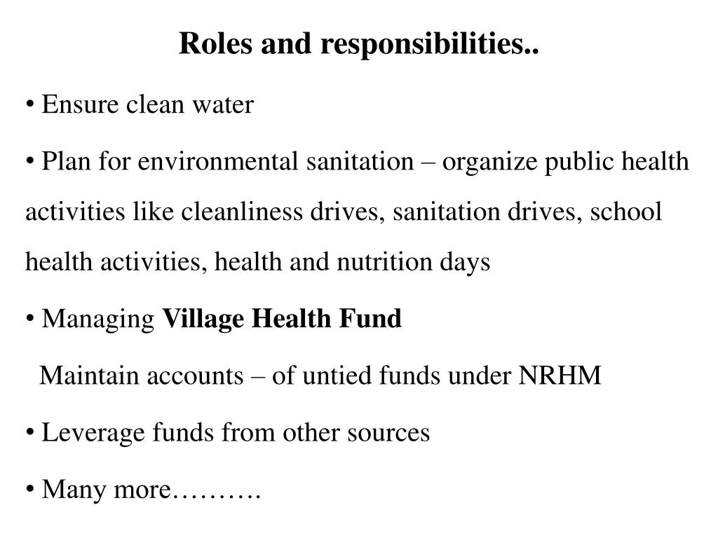 Roles and responsibilities..