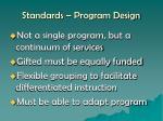 standards program design